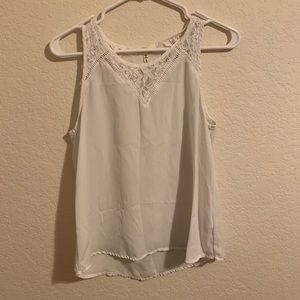 White chiffon top with lace detail neckline